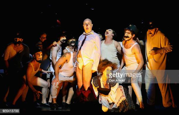 Actors perform during the final dress rehearsal of The Nose at Sydney Opera House on February 19 2018 in Sydney Australia
