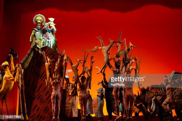 Actors perform during the musical The Lion King in Madrid Spain 29 August 2019 The musical production presents the new actors for its 9th season in...