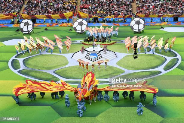 TOPSHOT Actors perform during the opening ceremony before the Russia 2018 World Cup Group A football match between Russia and Saudi Arabia at the...