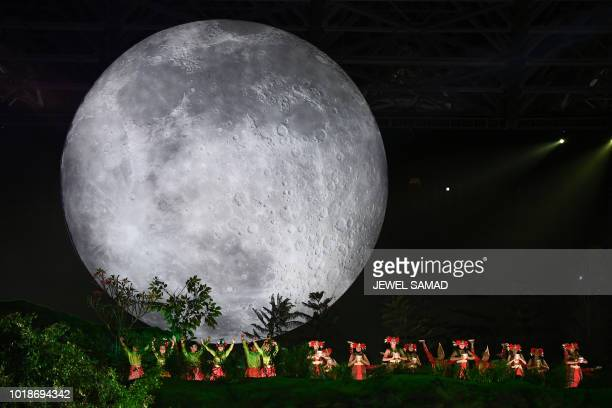 TOPSHOT Actors perform during the opening ceremony of the 2018 Asian Games at the Gelora Bung Karno main stadium in Jakarta on August 18 2018