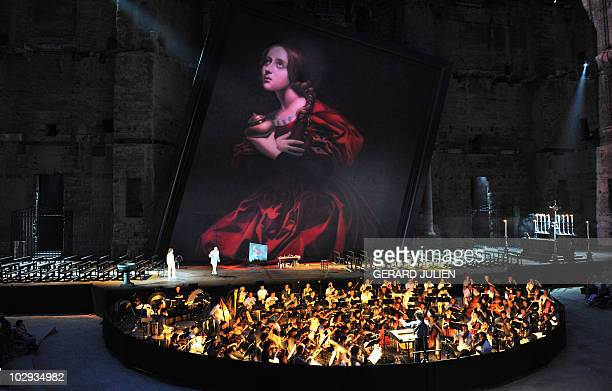 """Actors perform during the rehearsal of Italian Giacomo Puccini opera """"Tosca"""" on July 13 in Orange, southern France, during the Choregies d'Orange, a..."""