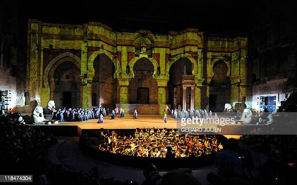 Actors perform during the rehearsal of Italian Giuseppe Verdi opera 'Aida' on July 7 in Orange southern France during the Choregies d'Orange a...