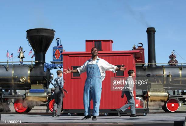 Actors perform in a celebration show as part of the 150th anniversary of the driving of the Golden Spike on May 10 2019 in Promontory Utah The...