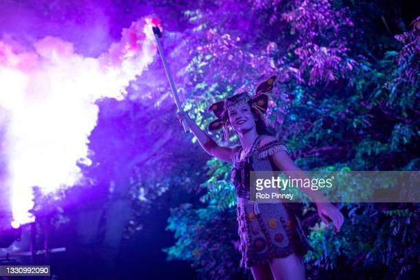 """Actors perform in a dress rehearsal for a production of """"A Midsummer Night's Dream"""" at Kew Gardens on July 27, 2021 in London, England."""