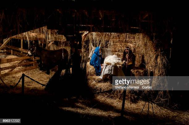 Actors perform Joseph and Mary in the living nativity scene for Christmas celebrations during the Inaugurated the 'Living Nativity scene of Rome...