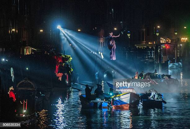 Actors perform on boats along the Canaregio Canal for the opening of the Venice Carnival on January 23 2016 in Venice Italy The 2016 Carnival of...