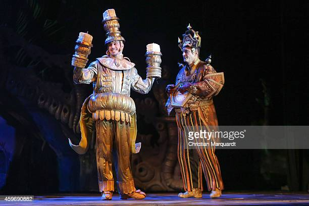 Actors perform on stage during a rehearsal for the musical 'Beauty and the Beast' at Admiralspalast on November 28 2014 in Berlin Germany