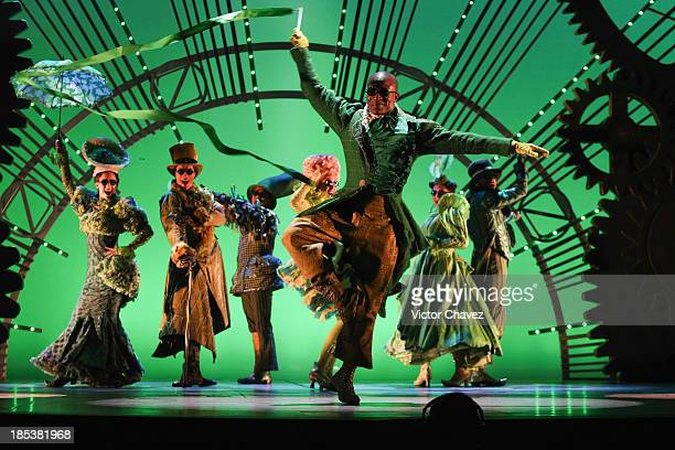 Actors perform on stage during the musical Wicked media call at Teatro Telmex on October 18 2013 in Mexico City Mexico