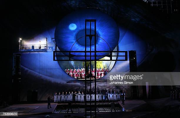 Actors perform on stage during the rehearsal of the opera 'Tosca' of Giacomo Puccini on July 13 2007 in Bregenz Austria The performance of 'Tosca'...