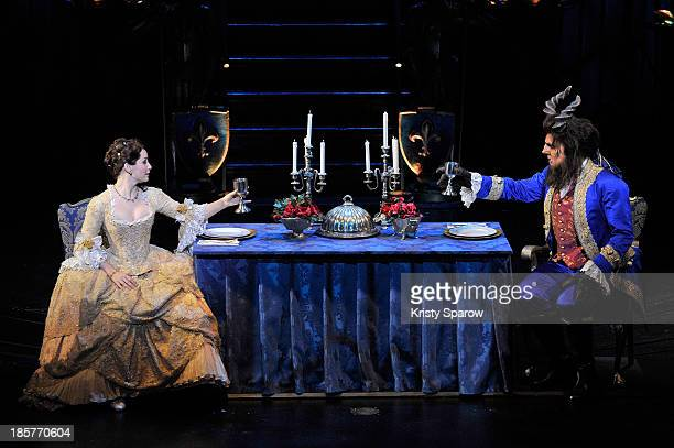 Actors perform onstage during the 'Beauty and the Beast' opening night dress rehearsal at Theatre Mogador on October 24 2013 in Paris France