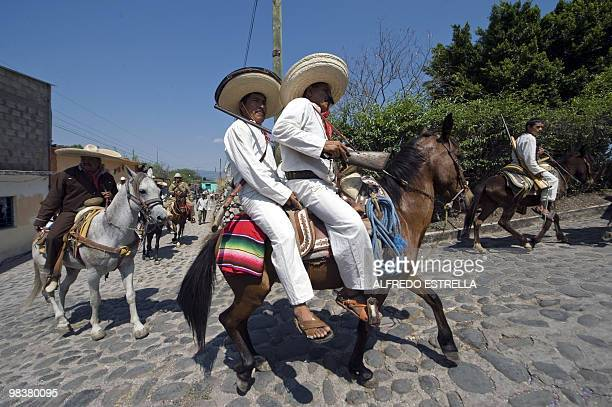 """Actors perform the """"Death of Zapata"""", during the anniversary of the death of Mexican heroe Emiliano Zapata in Chinameca community, Morelos State,..."""