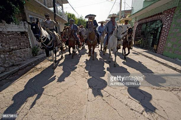 Actors perform the Death of Zapata on Mexican heroe Emiliano Zapata's death anniversary in Chinameca community Morelos State Mexico on April 10 2010...