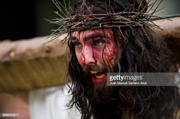 Actors perform the Passion of Christ during Good Friday on April 14 2017 in CastroUrdiales Spain Living Passion is a representation of the Passion of...