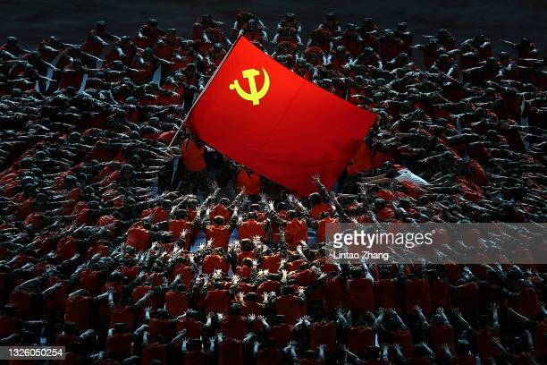 Actors perform to celebrate the 100th anniversary of the founding of the Communist Party of China at Birds Nest on June 28, 2021 in Beijing, China.