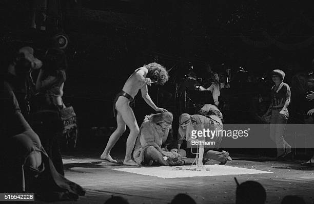 Actors performing a scene from the Broadway musical Hair during the opening night performance at the Biltmore Theatre on West 47th Street in Manhattan