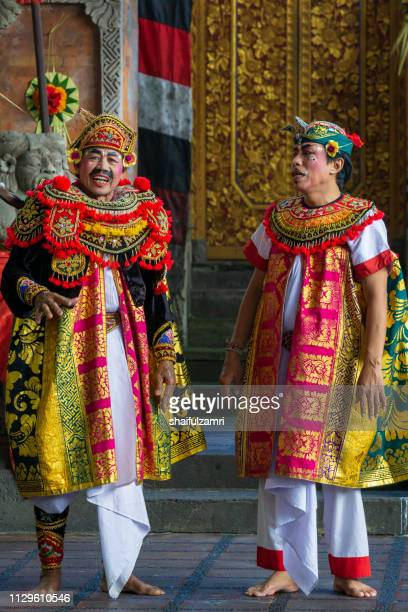 Actors performs a traditional Barongan dance in Bali, Indonesia.