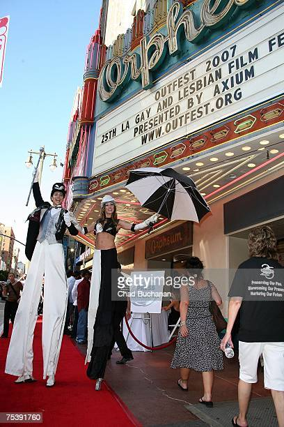 Actors performs on stilts outside the opening night gala of OUTFEST 2007 at the Orpheum Theater on July 12 2007 in Los Angeles California