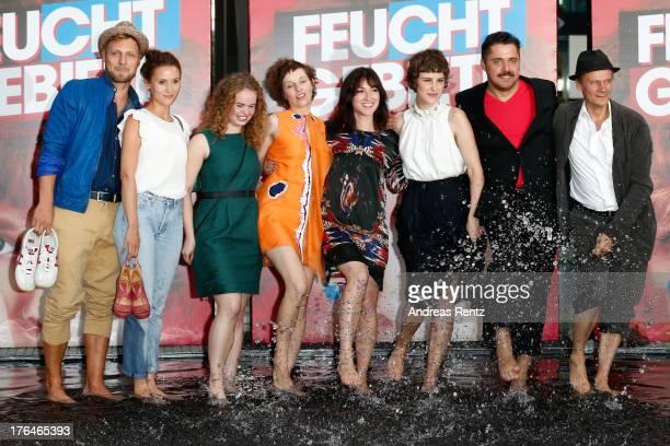 Actors Peri Baumeister Marlen Kruse Meret Becker Charlotte Roche Carla Juri Director David Wnendt and Actor Edgar Selge attend 'Feuchtgebiete'...