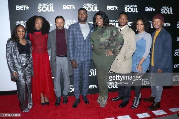 Actors Perri Camper Iantha Richardson Jason Dirden Sinqua Walls Kelly Price Christopher Jefferson Katlyn Nichol and Jelani Winston attend the BET's...