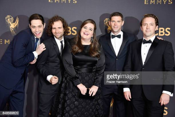 Actors Pete Davidson, Kyle Mooney, Aidy Bryant, Mikey Day and Beck Bennett attend the 69th Annual Primetime Emmy Awards at Microsoft Theater on...