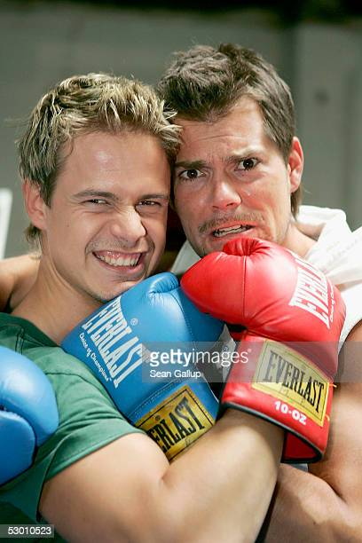 """Actors Pete Dwojak and Daniel Fehlow pose at a photocall on the set of the German television series """"Gute Zeiten, Schlechte Zeiten"""" on June 2, 2005..."""