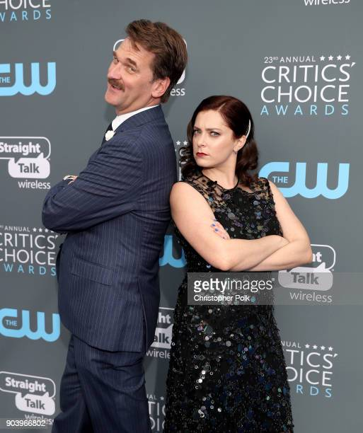 Actors Pete Gardner and Rachel Bloom attend The 23rd Annual Critics' Choice Awards at Barker Hangar on January 11 2018 in Santa Monica California
