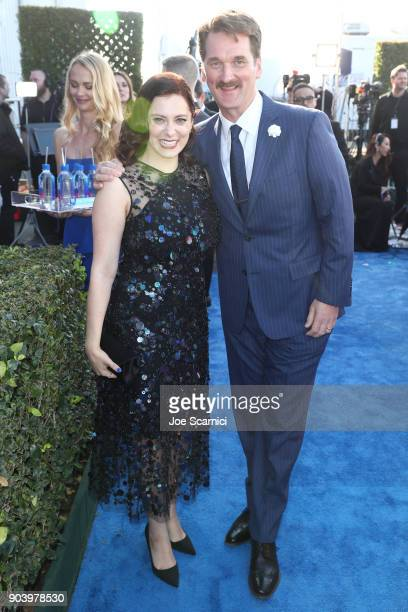 Actors Pete Gardner and Rachel Bloom attend the 23rd Annual Critics' Choice Awards on January 11 2018 in Santa Monica California