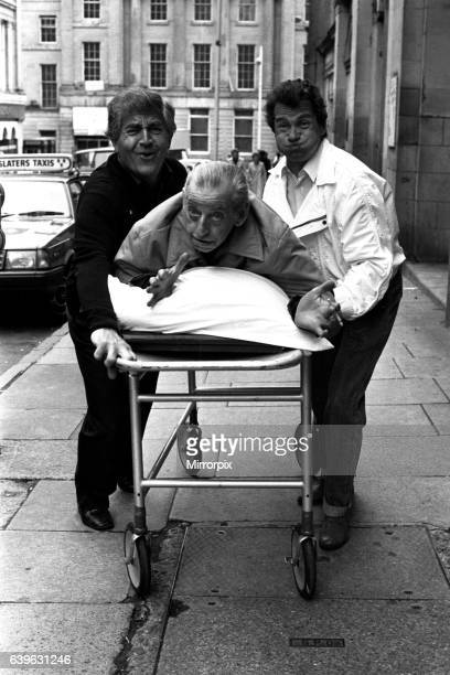 Actors Peter Baldwin Ben Warriss and David Ross outside the Theatre Royal Newcastle where they appeared in the comedy Having A Ball on 11th June 1985