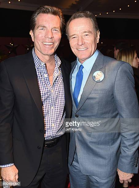 Actors Peter Bergman and Bryan Cranston attend the All The Way Los Angeles Premiere at Paramount Studios on May 10 2016 in Hollywood City