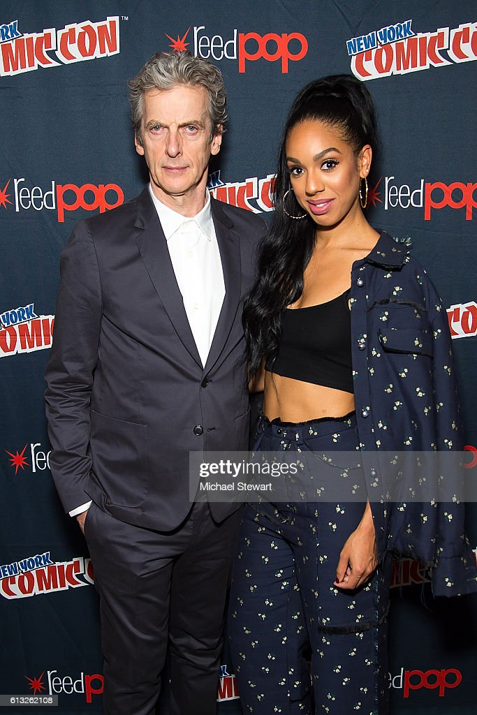 Actors Peter Capaldi (L) and Pearl Mackie attend BBC America Takeover featuring Doctor Who, Class and Dirk Gently's Holistic Detective Agency during 2016 New York Comic Con at The Theater at Madison Square Garden on October 7, 2016 in New York City.