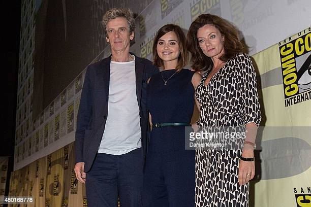 Actors Peter Capaldi Jenna Coleman and Michelle Gomez of Doctor Who appear on stage at ComicCon International at San Diego Convention Center on July...