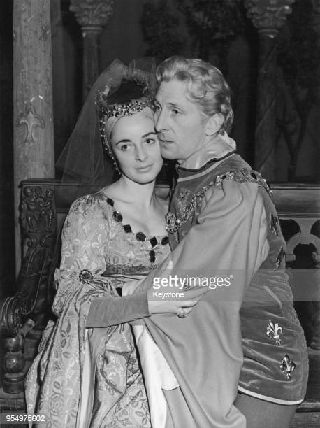 Actors Peter Cushing and Jeanette Sterke as King Richard and Queen Anne of Bohemia during rehearsals for a BBC broadcast of the play 'Richard Of...