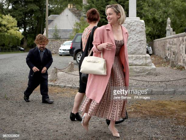 Actors Peter Dinklage and Emilia Clarke arrive at Rayne Church Kirkton of Rayne in Aberdeenshire for the wedding ceremony of their Game Of Thrones...