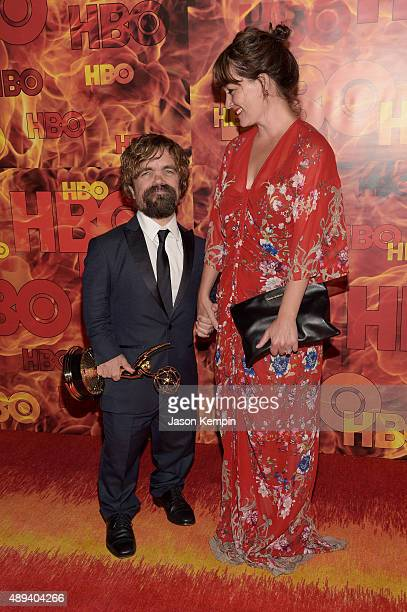 Actors Peter Dinklage and Erica Schmidt attend HBO's Official 2015 Emmy After Party at The Plaza at the Pacific Design Center on September 20 2015 in...
