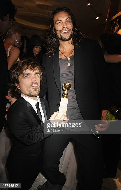 Actors Peter Dinklage and Jason Momoa attends HBO's Official After Party for the 69th Annual Golden Globe Awards held at The Beverly Hilton hotel on...
