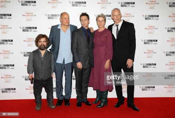 Actors Peter Dinklage Woody Harrelson Sam Rockwell Frances McDormand and writer and Director Martin McDonagh attend the UK Premiere of Three...