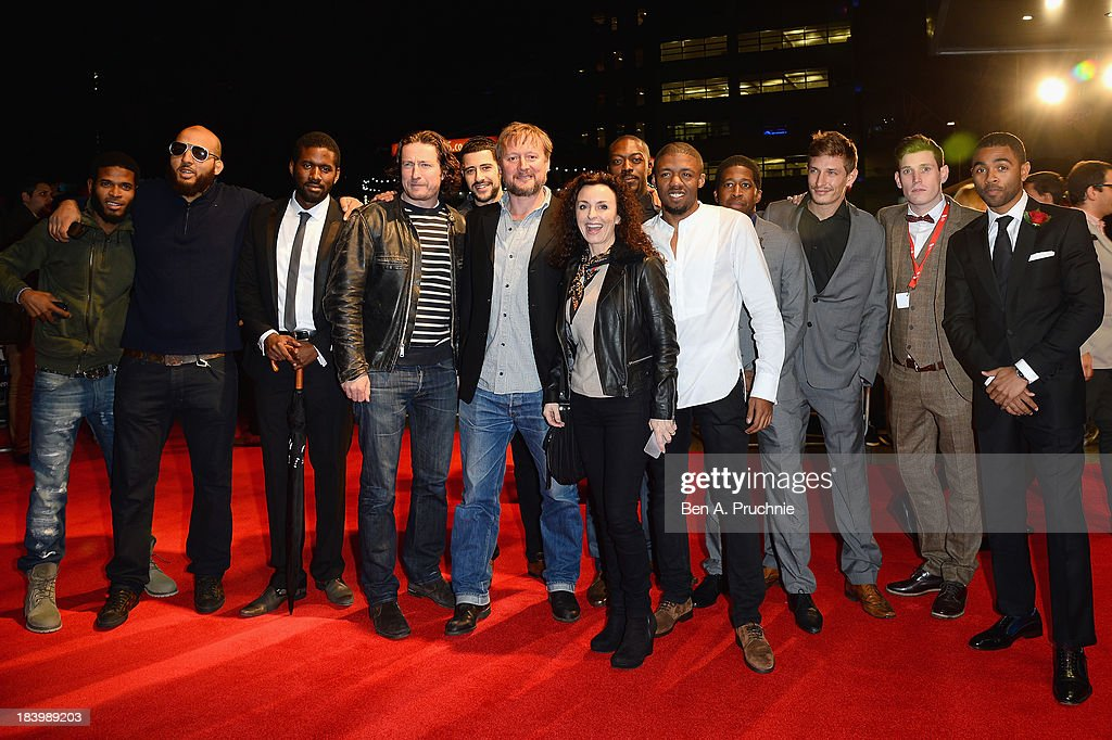 Actors Peter Ferdinando, David Avery, director David MacKenzie, guest, actors David Ajala, Ashley Chin, guest, actors Frederick Schmidt, Tommy McDonell and Anthony Welsh attend a screening of 'Starred Up' during the 57th BFI London Film Festival at Odeon West End on October 10, 2013 in London, England.