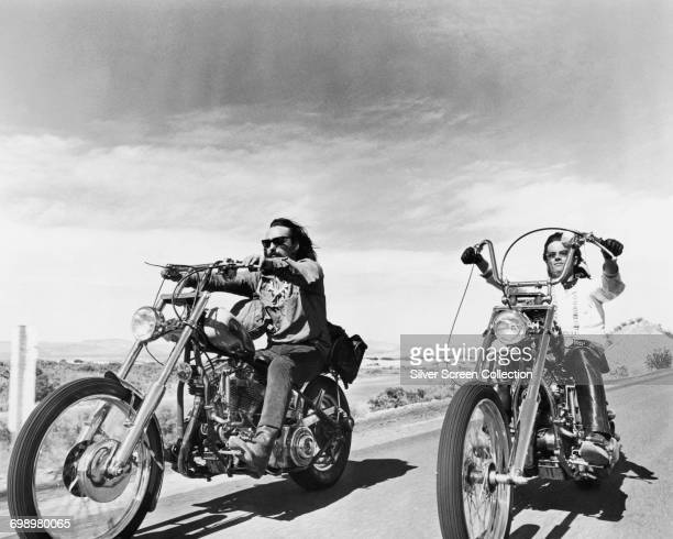 Actors Peter Fonda as Wyatt and Dennis Hopper as Billy in the road movie 'Easy Rider' 1969