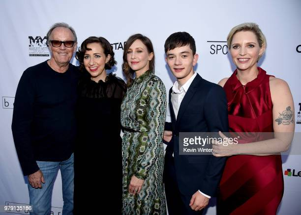 Actors Peter Fonda Kristen Schaal Vera Farmiga Lewis MacDougall and writer/director Shana Feste arrive at the premiere of Sony Pictures Classics'...