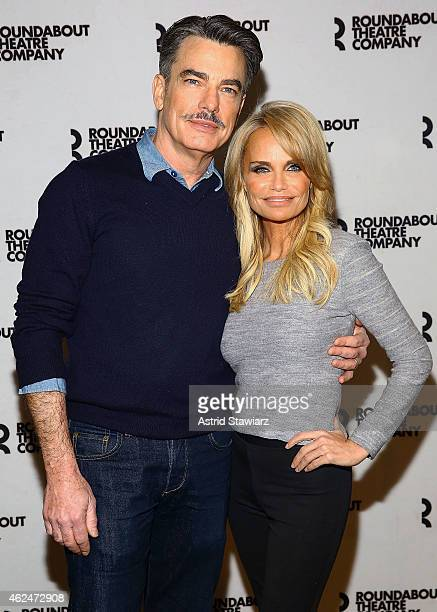Actors Peter Gallagher and Kristin Chenoweth attend 'On The Twentieth Century' Broadway Cast Photocall on January 29 2015 in New York City