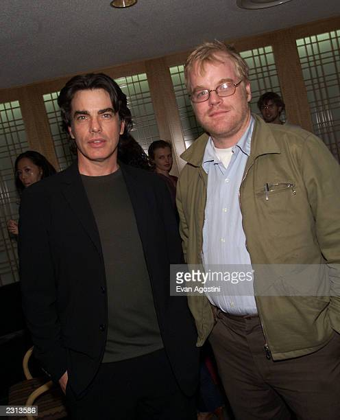 Actors Peter Gallagher and Philip Seymour Hoffman at the 'Mulholland Drive' screening at the New York Film Festival at Alice Tully Hall Lincoln...