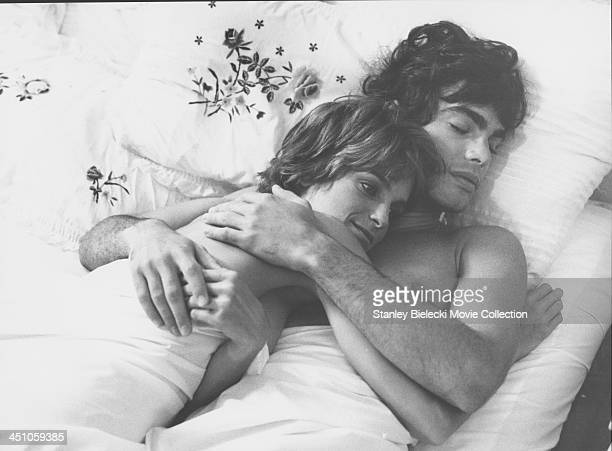 Actors Peter Gallagher and Valerie Quennessen in a scene from the movie 'Summer Lovers' 1982