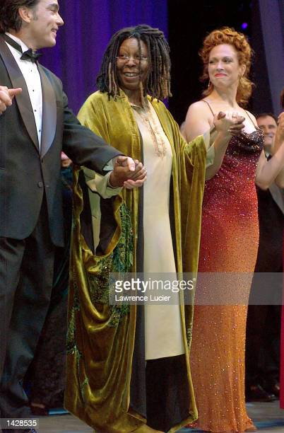 Actors Peter Gallagher Whoopi Goldberg and Carolee Carmello appear for the curtain call of the benefit concert of the musical Funny Girl September 23...