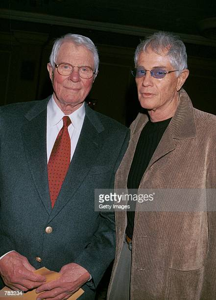 Actors Peter Graves and Troy Donahue attend the Pacific Pioneer Broadcasters Awards Luncheon honoring actress Beverly Garland January 19 2001 in Los...