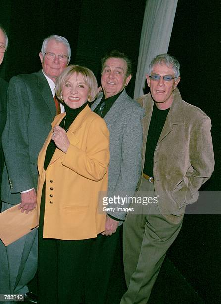 Actors Peter Graves Beverly Garland Mike Connors and Troy Donahue attend the Pacific Pioneer Broadcasters Awards Luncheon honoring Beverly Garland...