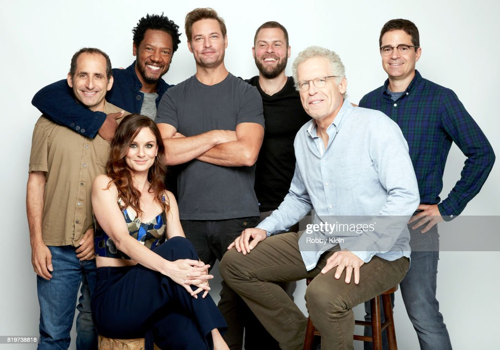 Actors Peter Jacobson, Sarah Wayne Callies, Tory Kittles, Josh Holloway, writer/producers Ryan Condal, Carlton Cuse and producer Wes Tooke from USA Network's 'Colony' pose for a portrait during Comic-Con 2017 at Hard Rock Hotel San Diego on July 20, 2017 in San Diego, California.