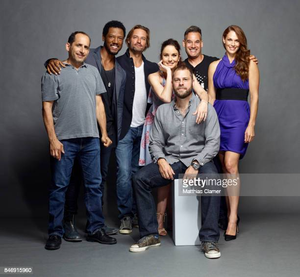 Actors Peter Jacobson Tory Kittles Josh Holloway Sarah Wayne Callies Adrian Pasdar Amanda Righetti and creator Ryan Condal from 'Colony' are...