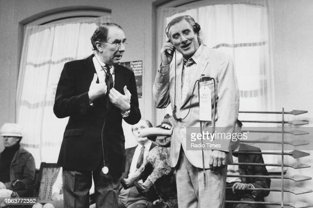 Actors Peter Jones and Spike Milligan in a sketch from the comedy television show 'Q6' September 20th 1975