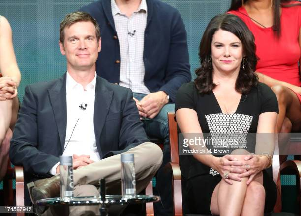 Actors Peter Krause and Lauren Graham speak onstage during the 'Parenthood' panel discussion at the NBC portion of the 2013 Summer Television Critics...