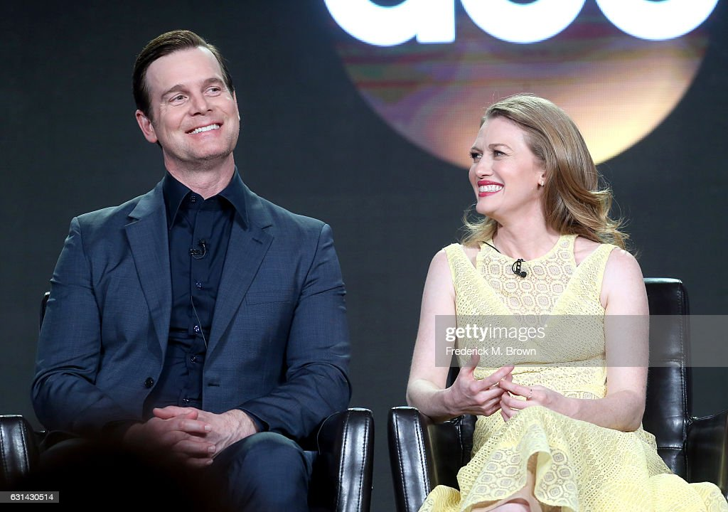 Actors Peter Krause (L) and Mireille Enos of the television show 'The Catch' speak onstage during the Disney-ABC portion of the 2017 Winter Television Critics Association Press Tour at Langham Hotel on January 10, 2017 in Pasadena, California.